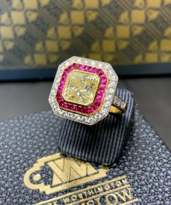 Yellow Diamond & Ruby Ring