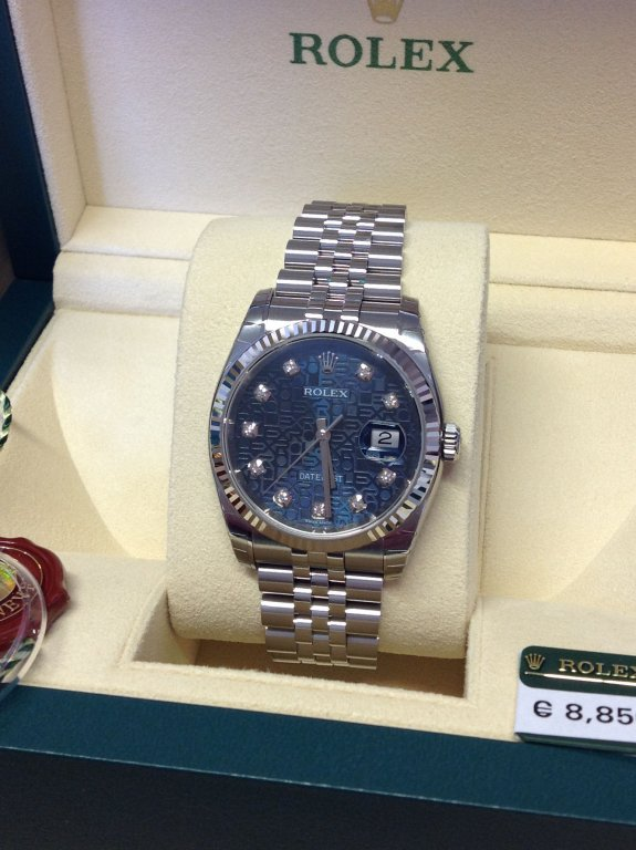 542c0a539fd Rolex Datejust 36mm 116234 Blue Jubilee Diamond Dot Dial Brand New Unworn  2015