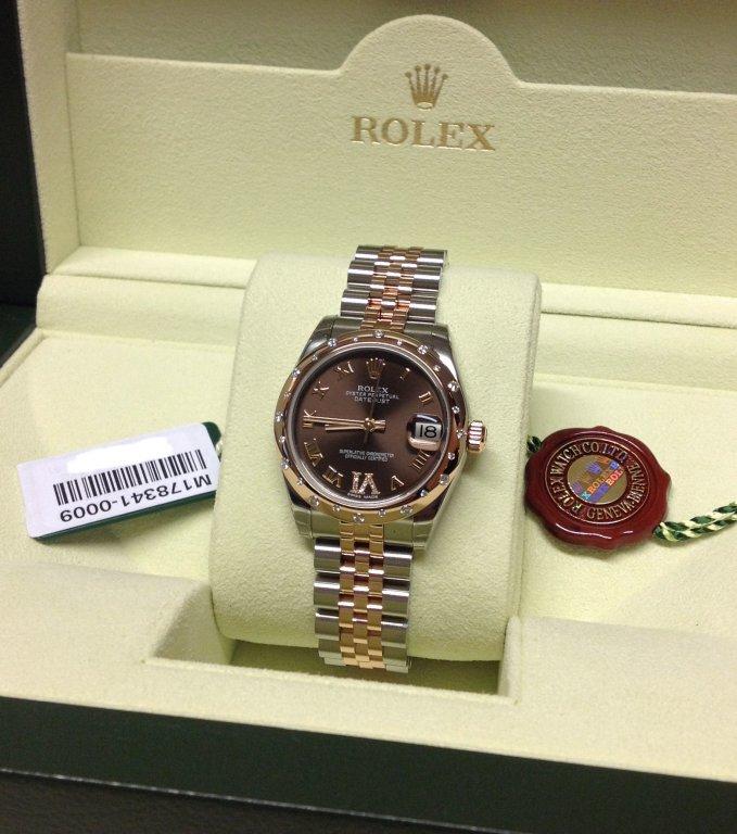 6874240050d Rolex Datejust Lady 31mm Mid/Size Chocolate Dial pave VI Diamond Bezel  178341