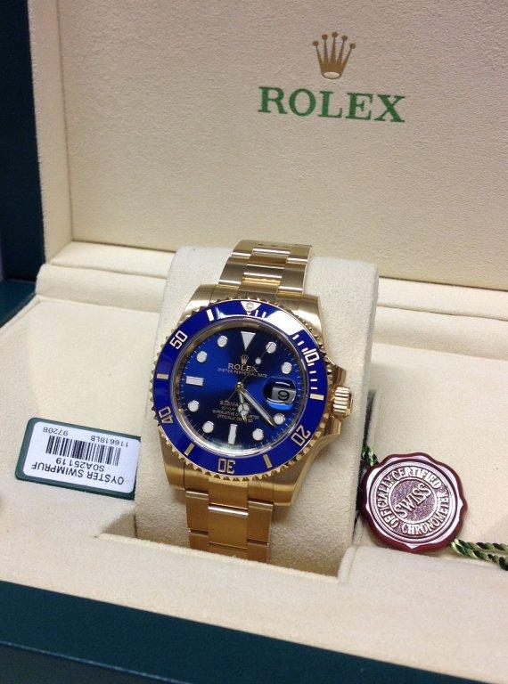 newest 57562 146bc Rolex Submariner Date Yellow Gold Blue Ceramic Latest ...