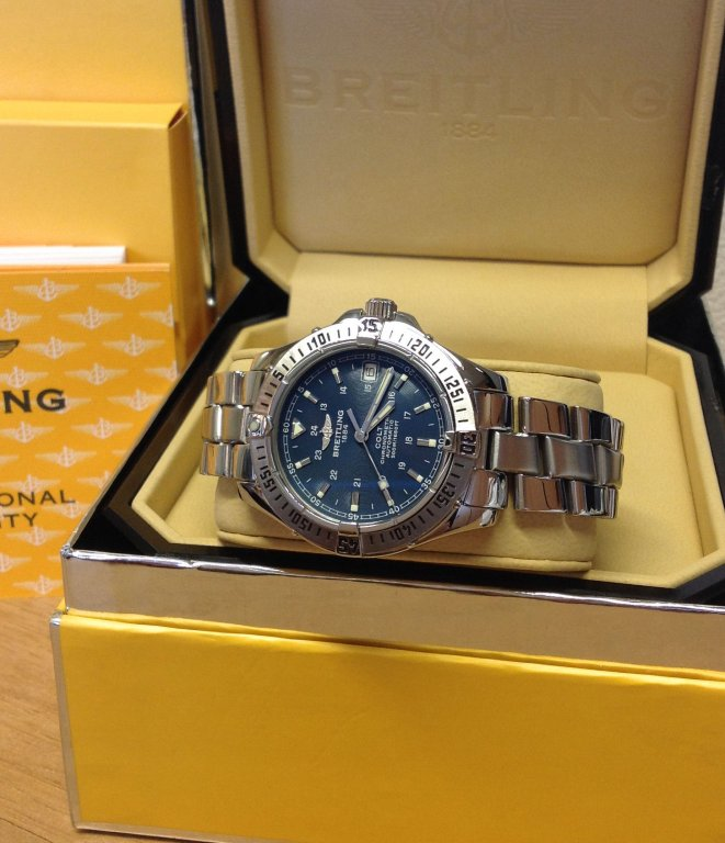 86e855c9005 Breitling Colt Automatic 38mm A17350 Blue Dial Just Serviced By Breitling UK