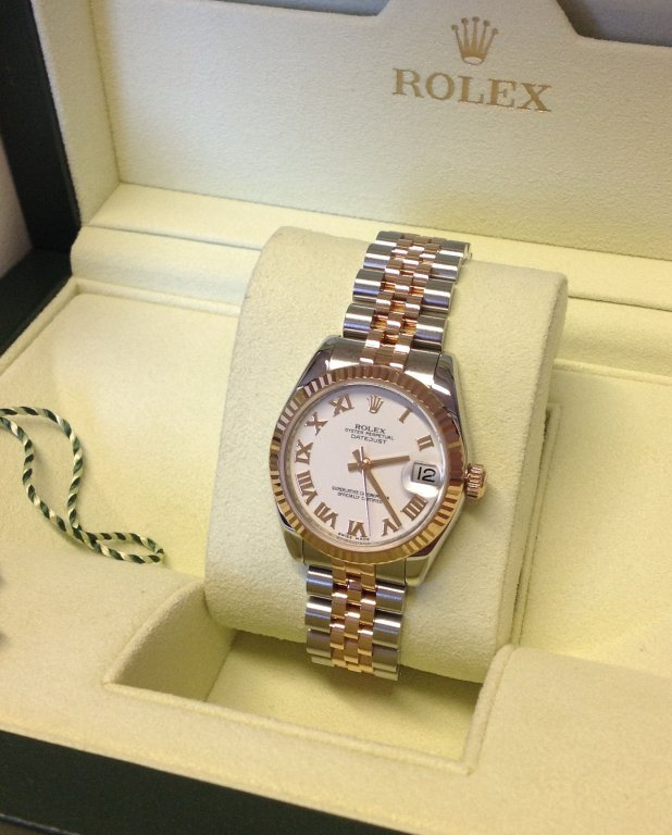 Rolex Datejust Ladies 31mm Mid Size 178271 Steel   Rose Gold White Roman  Numeral Dial 00b4d5630