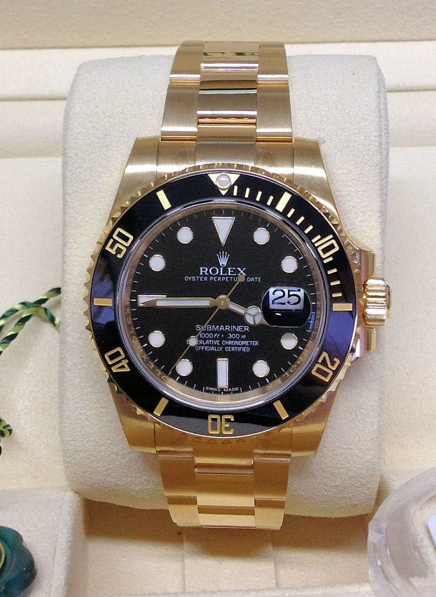 Rolex Submariner Date 116618LN Yellow Gold Unworn