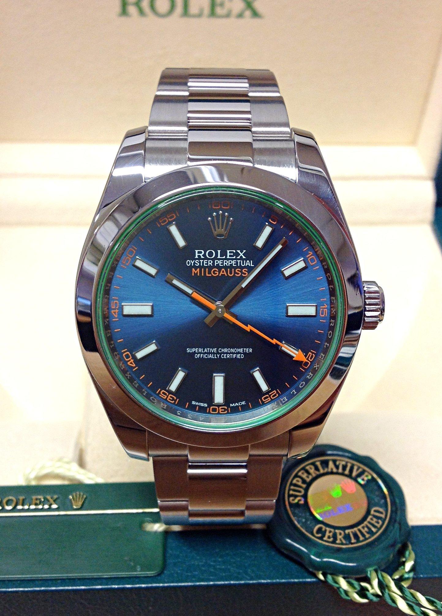 Rolex Milgauss 116400GV Blue Dial Green Glass