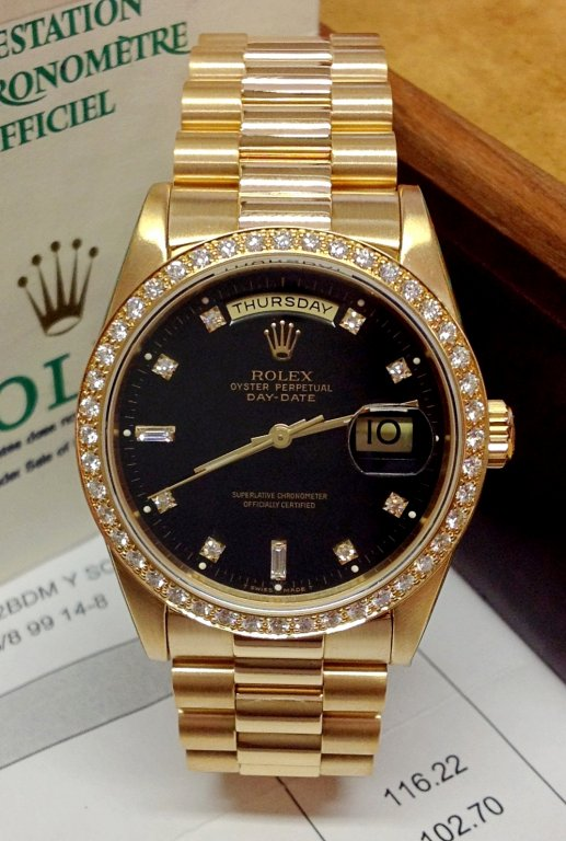 d01748a3154 Rolex Day-Date 18348 Yellow Gold Diamond Bezel
