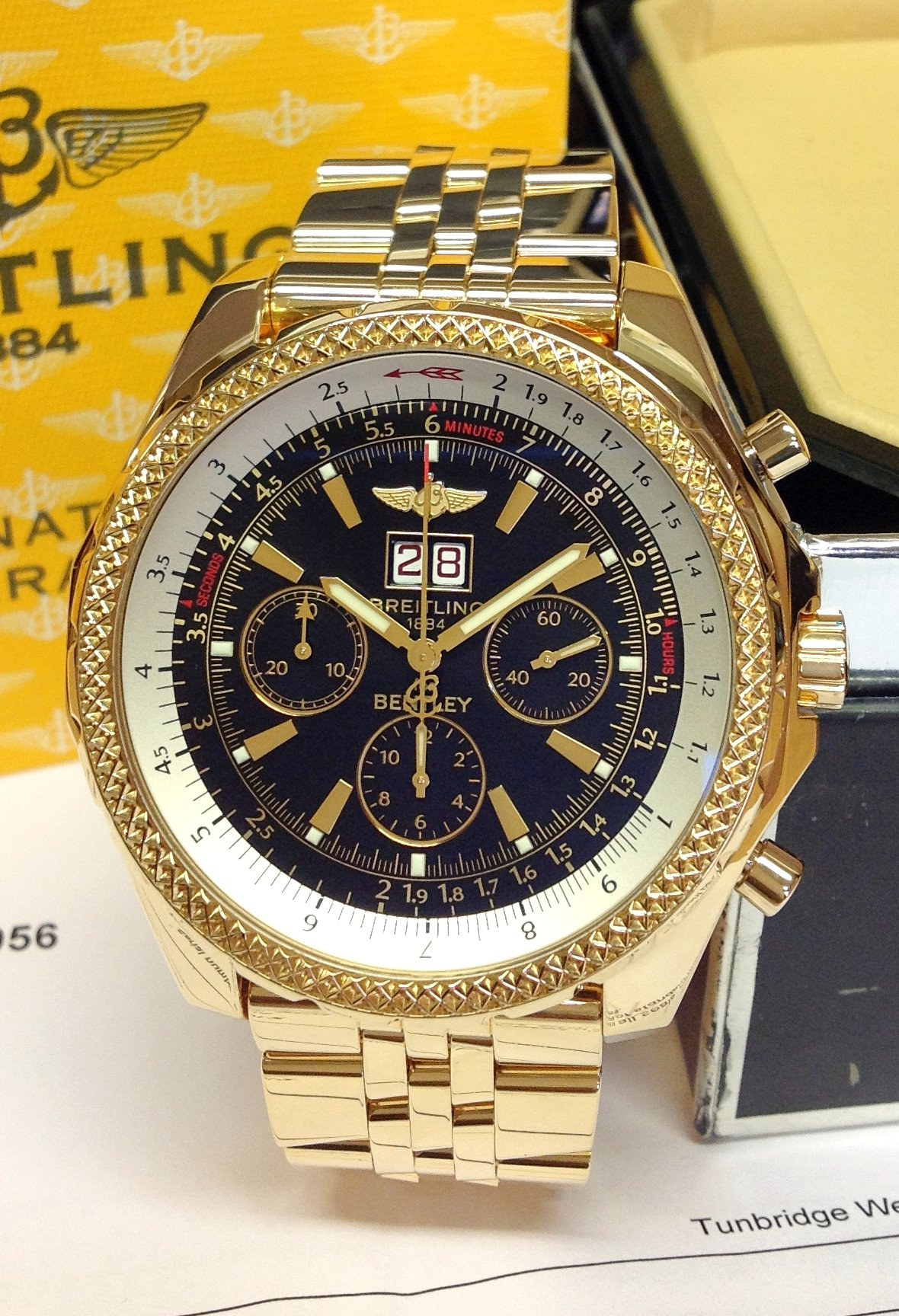 Breitling For Bentley 6 75 K44362 Yellow Gold