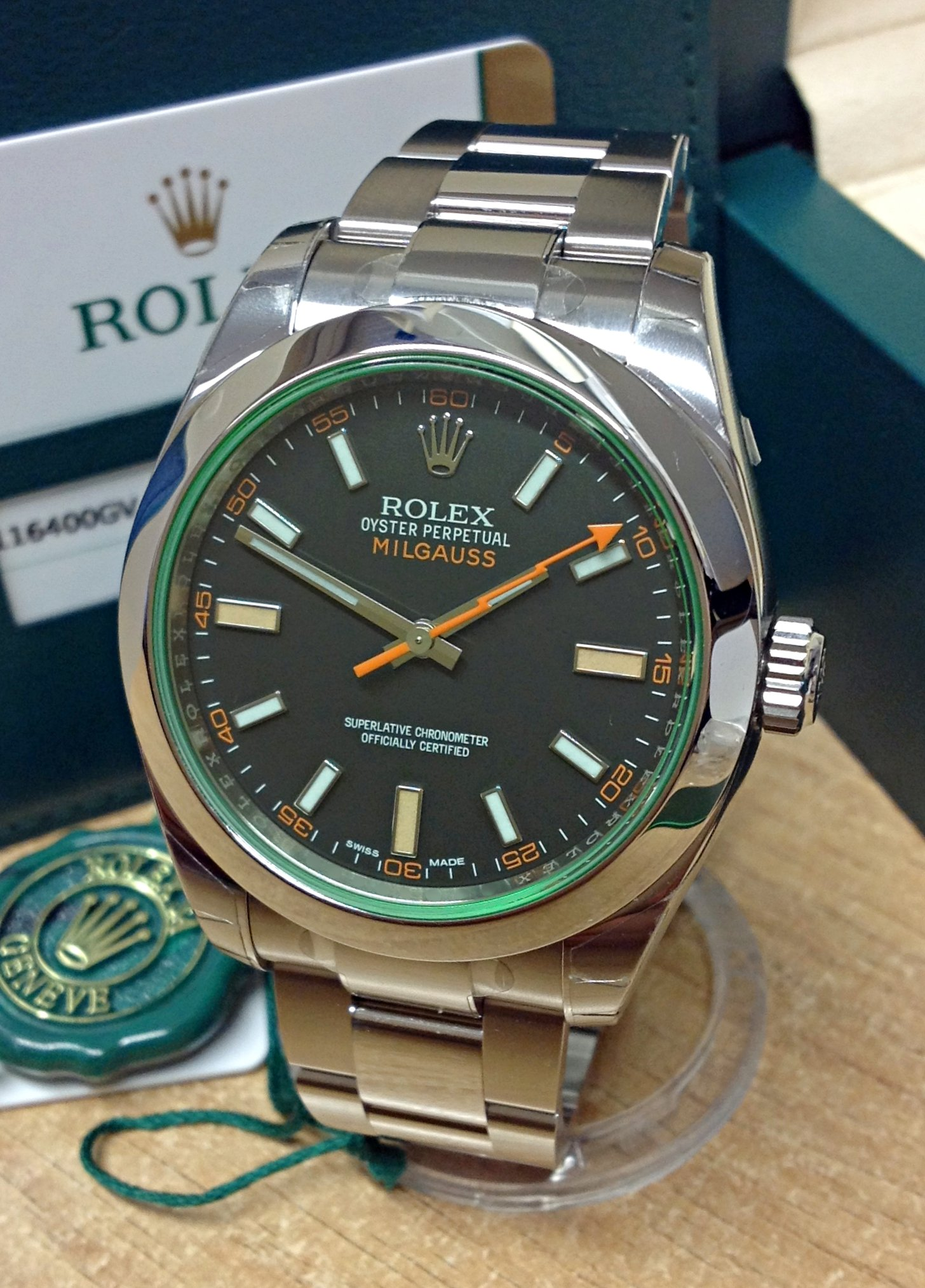 Rolex Milgauss 116400GV Green Glass Unworn