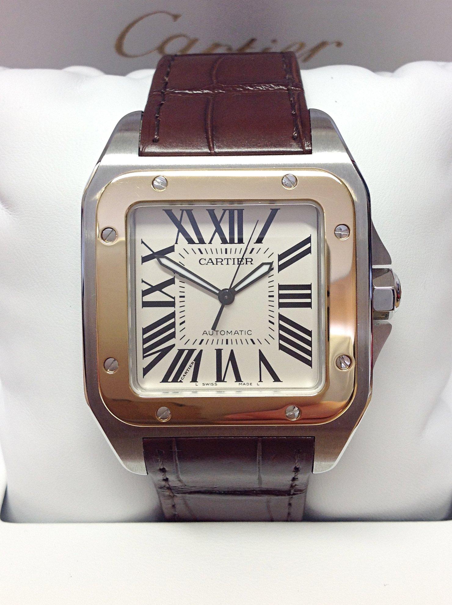 93bd6d821a7fa Cartier Santos 100 W20072X7 Bi/Colour Large Size Unworn