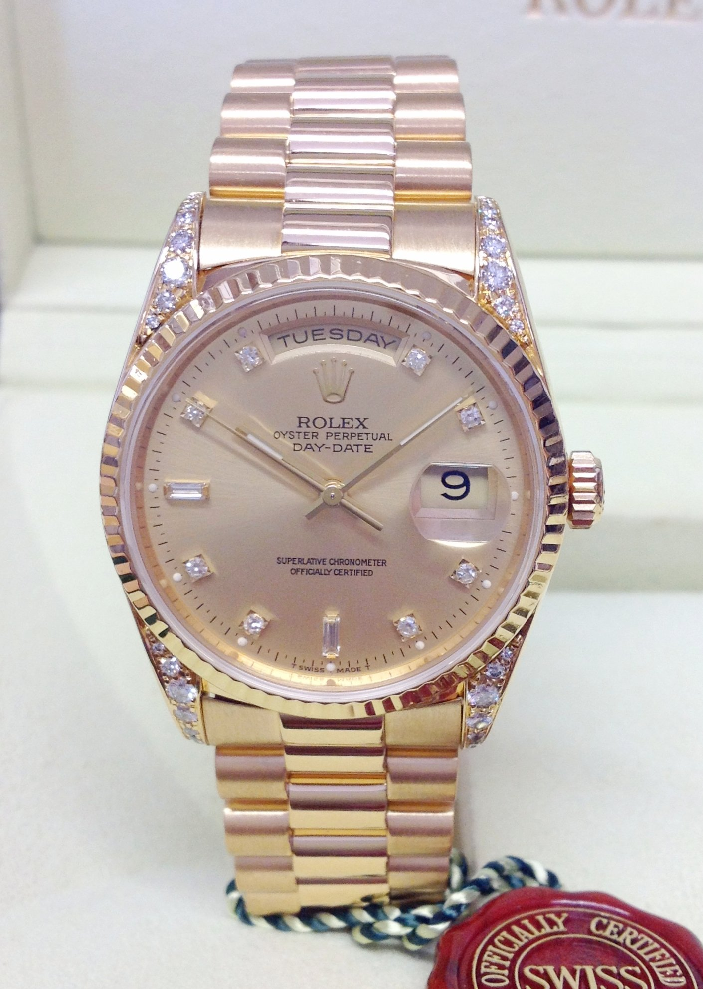 Rolex Day-Date 18338 Yellow Gold Diamond Shoulders