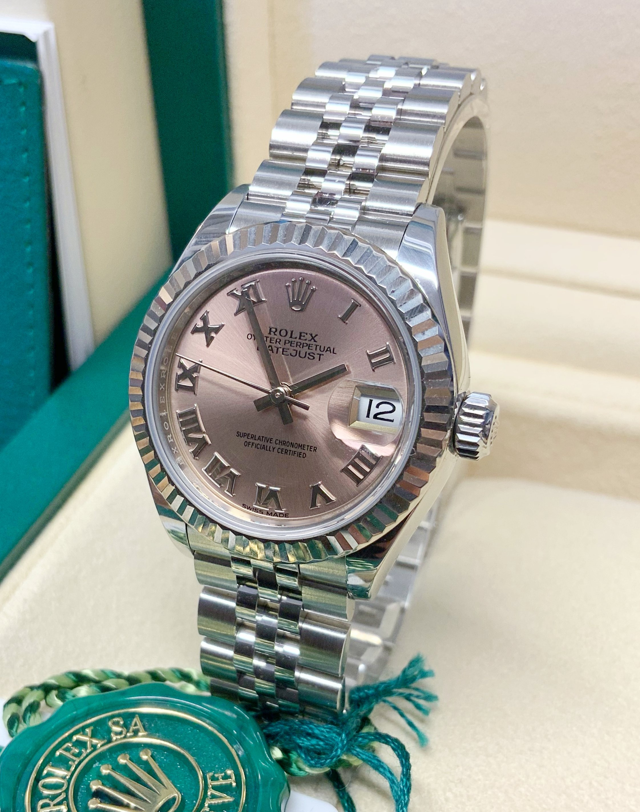 Rolex Datejust Lady 279174 28mm Pink Roman Dial