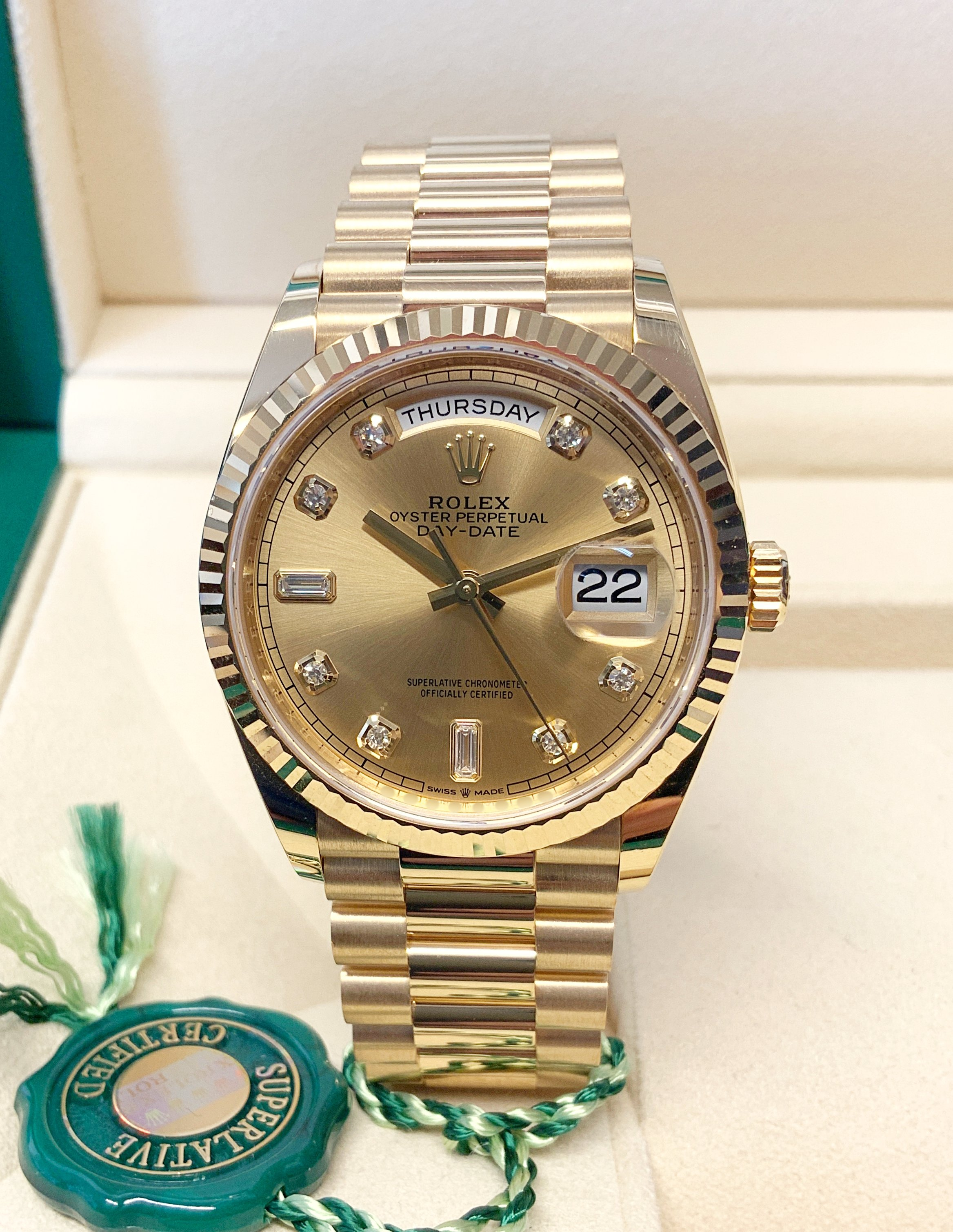 Rolex Day-Date 36 128238 Yellow Gold Diamond Dial